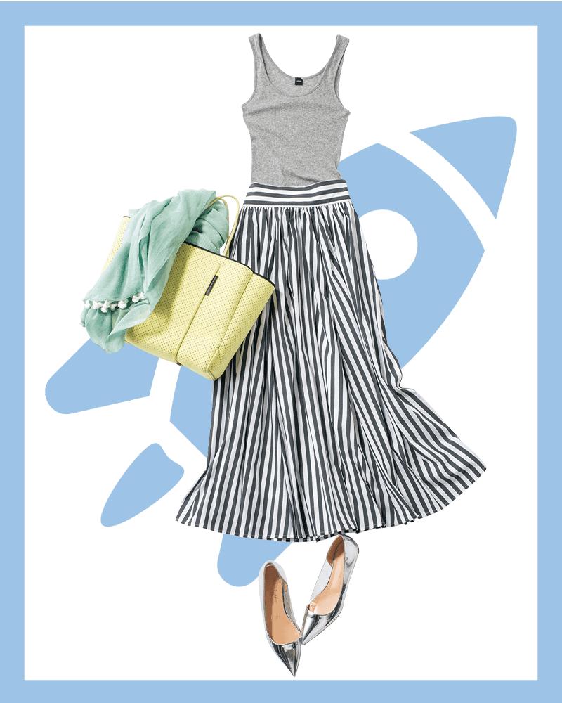 ストライプスカートで夏らしさ満点のマリンコーデ【今日の着回しDiary】