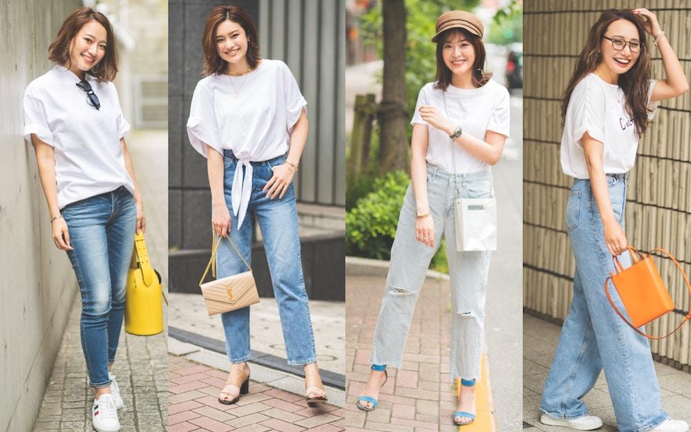 人気No.1!白Tシャツ✖️デニムコーデの正解例4選|アラサー女子の TシャツSNAP②