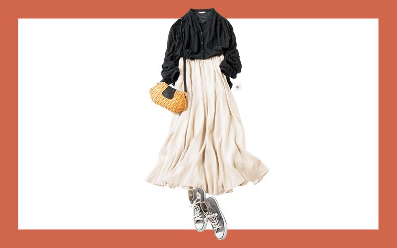 キレイめスカートはコンバースでハズすのが今っぽい【今日の着回しDiary】