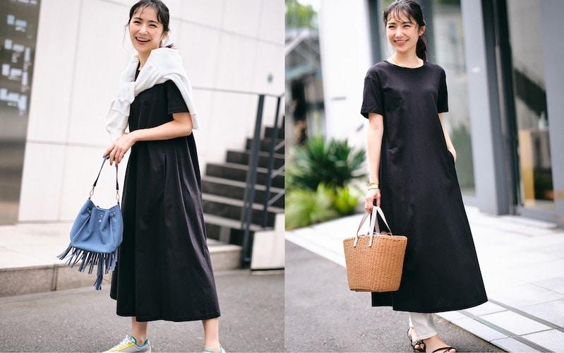 【全身GU×モノトーンコーデ】¥1490のTシャツワンピを安っぽく見せないコツ