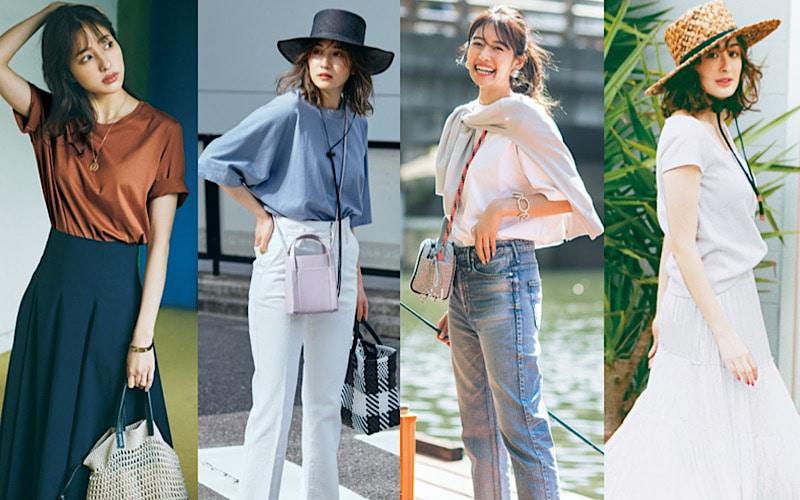 大人女子向け「夏のTシャツコーデ」6選【白&ニュアンスカラー】