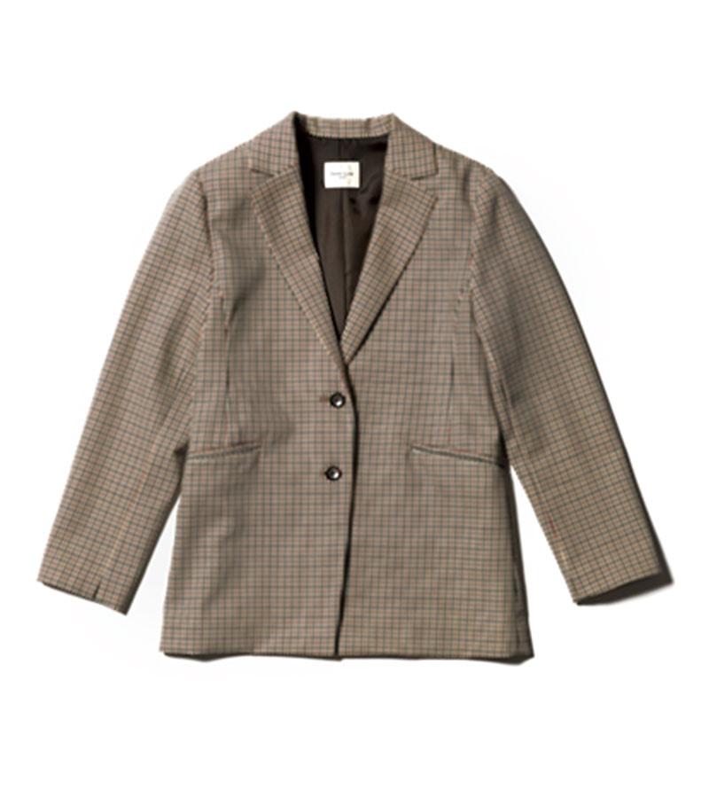 【H】チェックジャケット 衿抜きしても着られる立体設計で首肩周りが楽。上品もカジュアルも叶うガンクラブチェック。¥39,600(デミルクス ビームス/デミルクス ビームス 新宿)