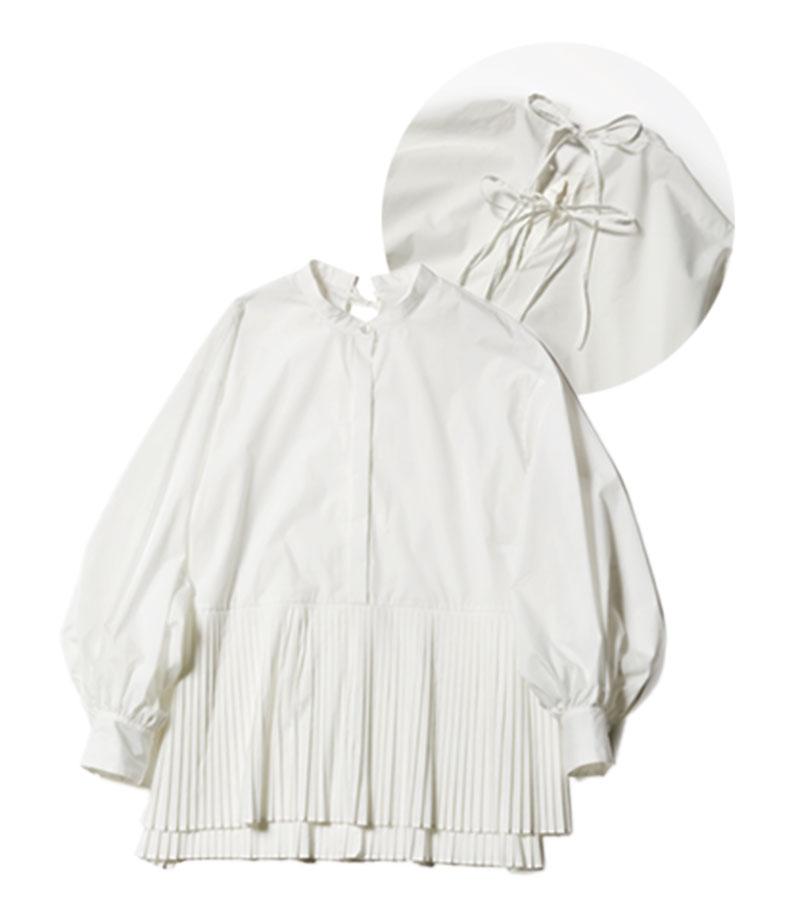 【D】華ブラウス 裾のプリーツが華やか。首の後ろでリボンを結ぶデザインになっているから、視線が上から注がれる座り姿勢でも後ろ姿美人をキープ。¥36,300(ANAYI)