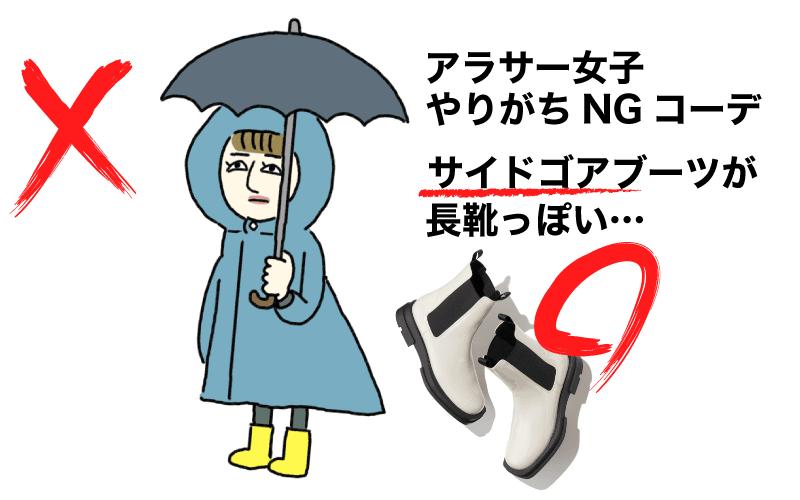 アラサーのあるあるNGコーデ図鑑「サイドゴアブーツが長靴見え」