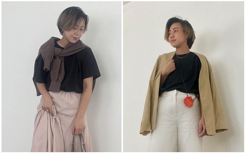 秋服のインナーに!「ユニクロ定番黒Tシャツ」スタイリストは私服でこんな風に着ています!